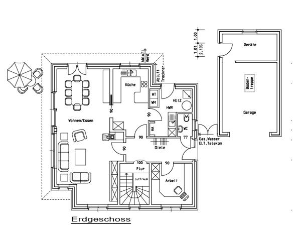 Bauzeichnung Garage stadtvillen hoogstede nordhorn grafschaft bentheim lingen